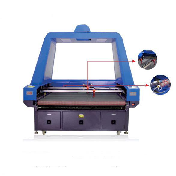 Panoramic Camera Double Head Asynchronous Fabric Laser Cutting Machine